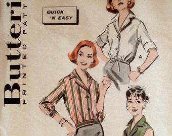 Vintage 1950s Blouse Pattern Butterick 8583 Bust 32 Rockabilly