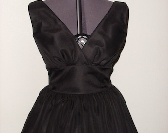 Marilyn Monroe Black Lowback Tea Length 1950s Dress With Chiffon Overlay