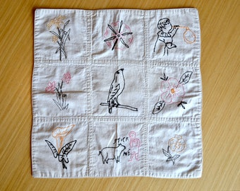 1935 Antique Embroidered Quilt Square - With Family History