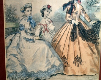 Antique French Fashion Plate 1864 by Anais Toudouze - Magasin des Demoiselles - framed print