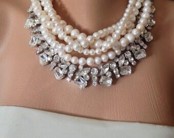 Summer Weddings Chunky Bridal Freshwater Pearl and Rhinestone Necklace