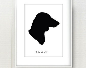 Modern Pet Portrait Custom Silhouette Black and White or Color Print 8x10 - Custom Personalized Dog or Cat Art - Great gift for pet lovers