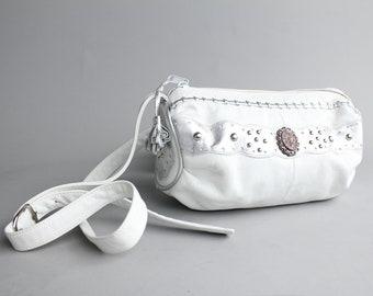 southwest leather barrel bag | vintage white leather purse | 80s leather crossbody bag
