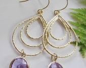 Purple Teardrop Earrings, Gold Chandelier Hoop Earrings, Bridesmaid Earrings, Fashion Statement