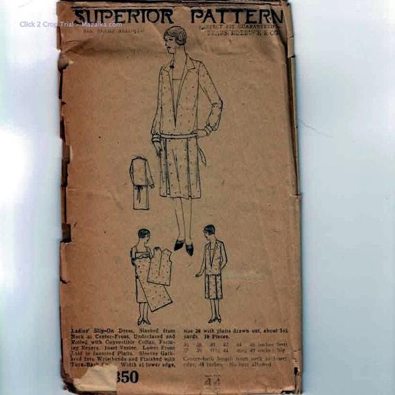 1920s Vintage Sewing Pattern Superior 7350 Womens Plus Size Flapper Drop Waist Day Dress Bust 44 UNCUT 20s Antique