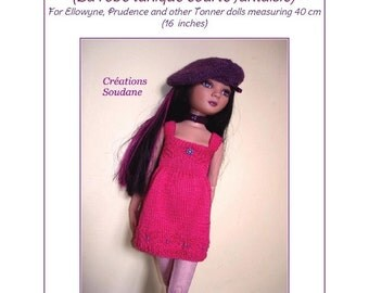 "2. English and  French INSTANT DOWNLOAD PDF knitting Pattern dress and jacket only 16"" Ellowyne 16"" and Tonner doll"