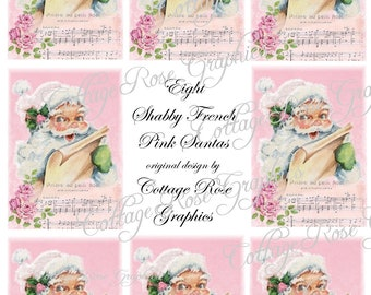 Large digital download collage Pink Shabby French Santa Roses ATC ACEO gift tags ECS buy 3 get one free