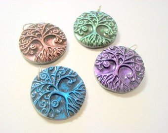 Interference Collection of 4 Yggdrasil Tree of Life With Roots Handmade Polymer Clay Pendants