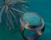 Turquoise Oval Ring in Sterling Silver