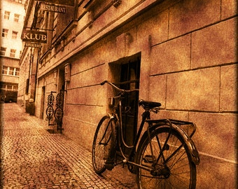 Bicycle on a Prague street, fine art photograph, vintage look photograph, 5x7 print in a 8x10 mat, prague photography