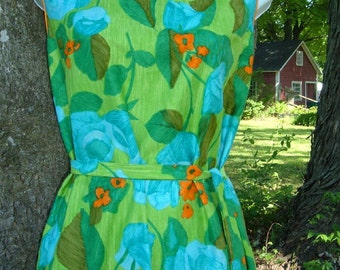 Vintage Tropicana Hawaii Hawaiian Dress S Honolulu Blue Rose Muu Muu Maxi