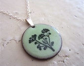 BLOOMING DILL FLORAL lichen green enamel necklace by GypsyRabbit