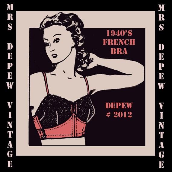 Vintage Sewing Pattern Ladies 1940's French Bra Digital Printable Multisize Depew 2012 -INSTANT DOWNLOAD-