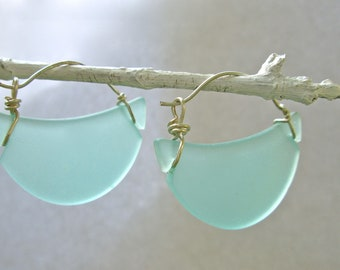 aqua seaglass crescent hoop earrings