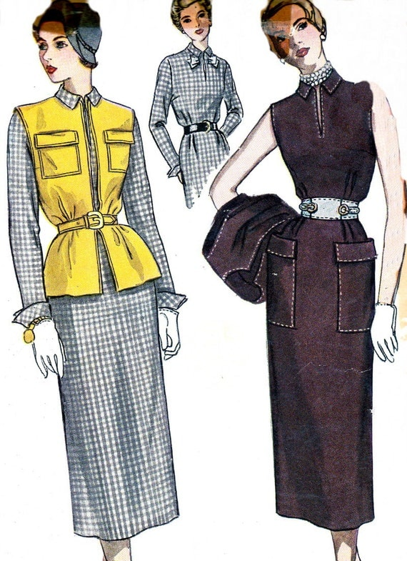 1940s dress pattern simplicity 3113 sheath dress sleeveless jacket bow