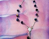 Black Swarovski crystal beeded Rosary delicate bracelet one of a kind
