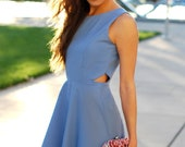 Secret Periwinkle Dress -  - S, M, L - Choose Your Size - Made to Order - Cut Out, Skater Dress, Fit and Flare, Bridesmaid Dress