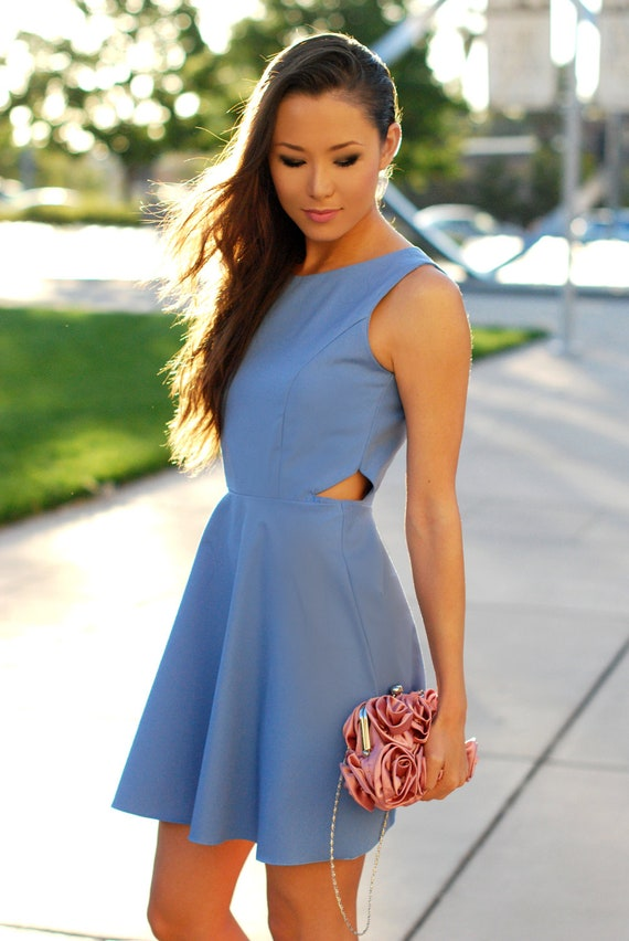 Secret Periwinkle Dress -  - S, M, L - Choose Your Size and Color - Made to Order - Cut Out, Skater Dress, Fit and Flare, Bridesmaid Dress