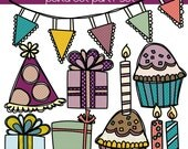DOUBLE Polka Dot Party Colour Clipart & Black-line Stamp Sets