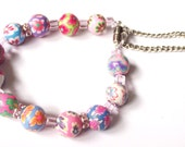 Colorful floral bracelet polymer clay pink magnetic clasp