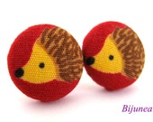 Hedgehog earrings - Red hedgehog stud earrings - Hedgehog posts - Hedgehog studs sf933