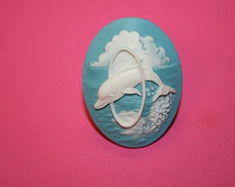 SALE Large Teal Dolphin Cameo Ring