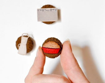 Cherry Pie Baker's Magnets Fun Foodie Kitchen Gift Set of 3: Pie, Recipe Cards, Chef's Apron in Brown Polymer Clay or Home Decor