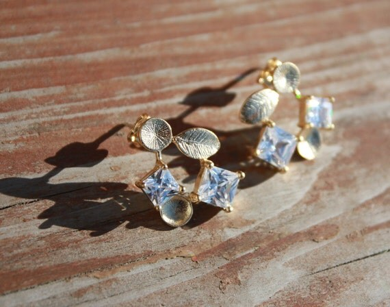 Cubic Zirconia Stud Earrings with 14K Gold Ear Posts