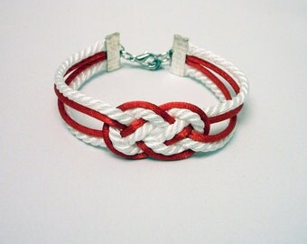 Red and white double infinity knot nautical rope bracelet with silver anchor charm