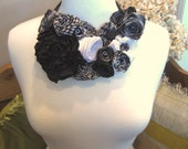 Ribbon flower bib statement necklace: French ribbon flowers in black and white -- a floral centerpiece you'll love