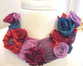 Ribbon flower bib statement necklace -- French ribbon flowers in purple and red hues