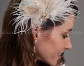 Bridal Birdcage Fascinator, Hair Feather Fascinator, Ivory with Champagne Peacock Eyes - Blanche