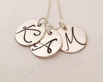 Triple Initial Necklace - Monogram Necklace - Personalized Necklace - Mother's Jewelry - Handstamped Necklace