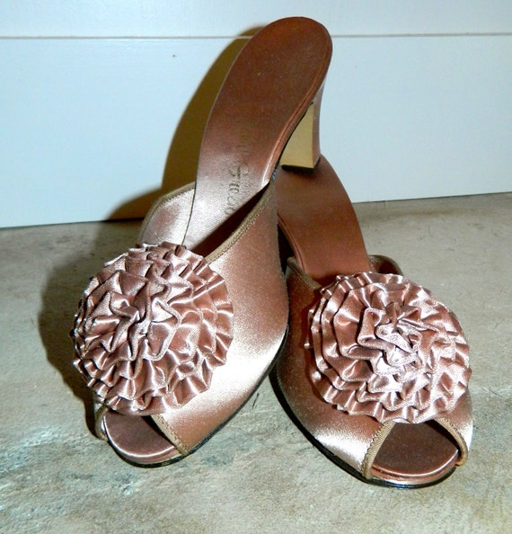 vintage satin slippers 70s mauve mules daniel green by 15068 | il 570xn 469261840 bv2a