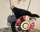 Handmade Halloween Vintage Halloween Decoration Vintage Crow Halloween Crow Vintage Inspired Mixed Media