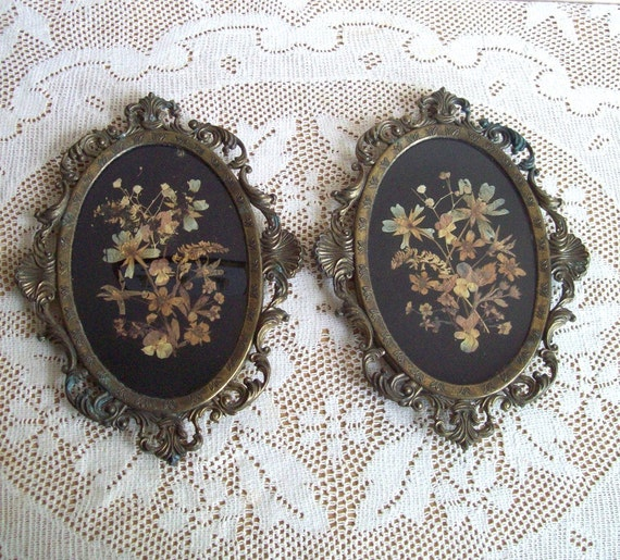 Vintage Brass Framed Pictures Dried Flowers Victorian Ornate Wall Hanging Antique Brass