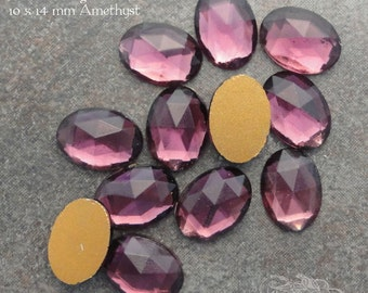 Vintage Cabochons - 10x14 mm Amethyst - 6 West German Faceted Glass Stones
