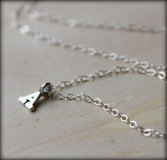 Reserved for Jenny. Trade. Free Shipping. Initial Letter Necklace. Sterling Silver Petite