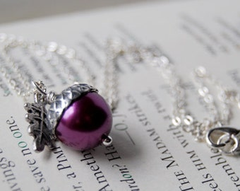 Plum and Silver Acorn Necklace