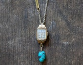 Redesigned ART DECO vintage watch necklace /  turquoise nugget LONG necklace