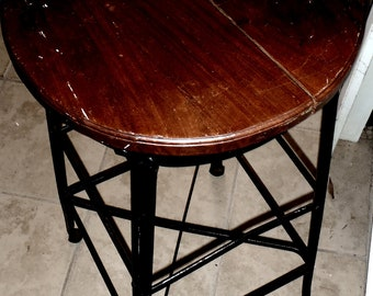 Vintage Iron and Wood Industrial Stool