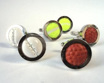 Real Sports Ball Cufflinks - Handmade from Real Golf Balls, Baseballs, Cricket Balls, Tennis Balls, and Basketballs - silver plated