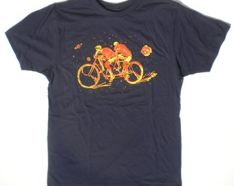 Mens Bicycle Tee Shirt, The Space Racers Tandem Bikers, in Navy Blue