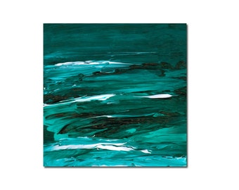 Teal Sea Original Painting Small Contemporary Abstract