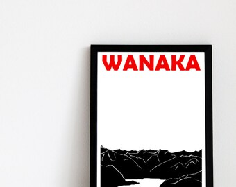 Wanaka Print // New Zealand Art Travel Print