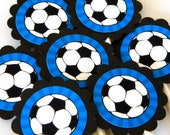 Soccer Cupcake Toppers Scalloped Circles - Ready to Ship, Blue, Set of 12