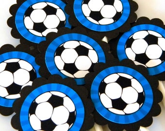 Soccer Cupcake Toppers Scalloped Circles - Blue, Set of 12