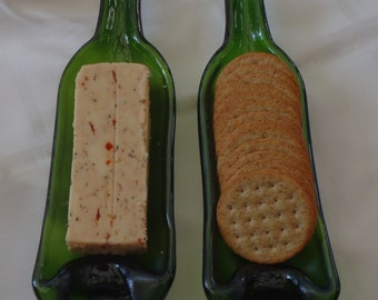 Upcycled wine bottle serving tray - melted wine bottle - smashed bottle - spoon rest - cheese tray - recycled - Xmas gift