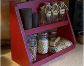Primitive Spice Rack Step Back Design Farmhouse Kitchen Storage by Sawdusty's Cabin / Original Design / Barn Red / Color Choice
