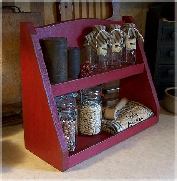 Primitive Spice Rack Step Back Design Farmhouse Kitchen Storage by Sawdusty's Cabin / Original Design / Barn Red / Color Choice